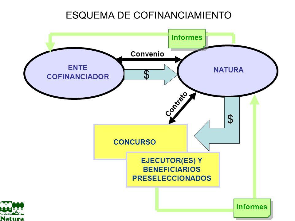 ESQUEMA DE COFINANCIAMIENTO ENTE COFINANCIADOR NATURA CONCURSO EJECUTOR(ES) Y BENEFICIARIOS PRESELECCIONADOS $ $ Convenio Contrato Informes
