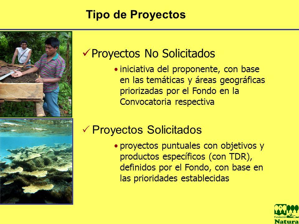Tipo de Proyectos Proyectos No Solicitados iniciativa del proponente, con base en las temáticas y áreas geográficas priorizadas por el Fondo en la Con