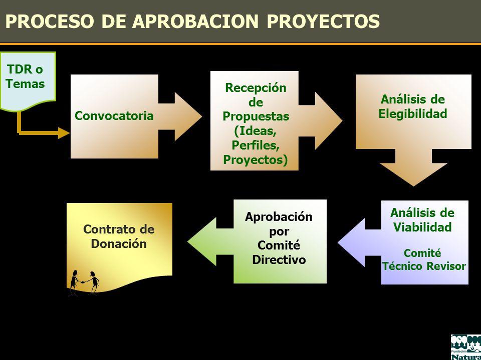 PROCESO DE APROBACION PROYECTOS Análisis de Elegibilidad Convocatoria Recepción de Propuestas (Ideas, Perfiles, Proyectos) Análisis de Viabilidad Comi