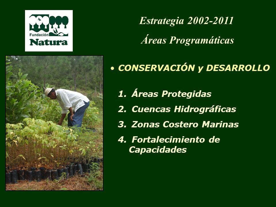 1. Áreas Protegidas 2. Cuencas Hidrográficas 3. Zonas Costero Marinas 4. Fortalecimiento de Capacidades Estrategia 2002-2011 Áreas Programáticas CONSE