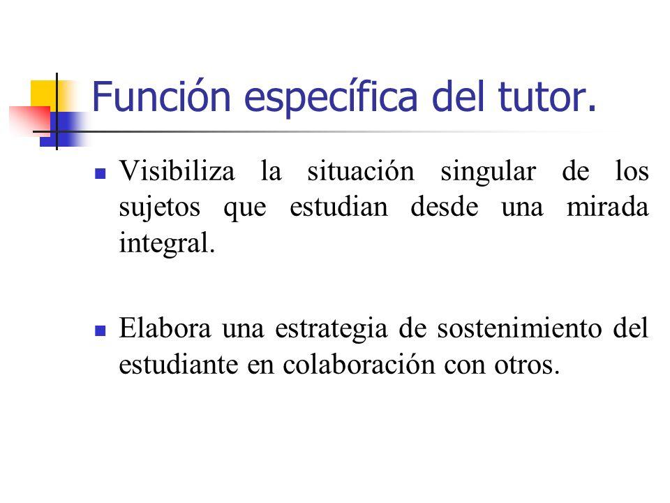 Función específica del tutor. Visibiliza la situación singular de los sujetos que estudian desde una mirada integral. Elabora una estrategia de sosten