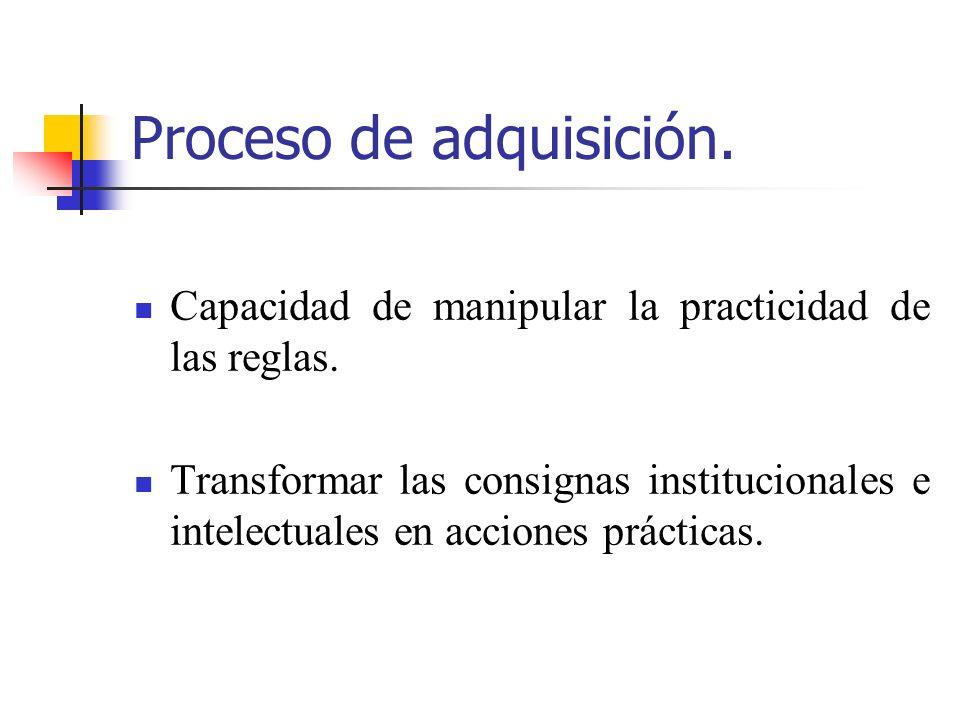 Proceso de adquisición. Capacidad de manipular la practicidad de las reglas. Transformar las consignas institucionales e intelectuales en acciones prá