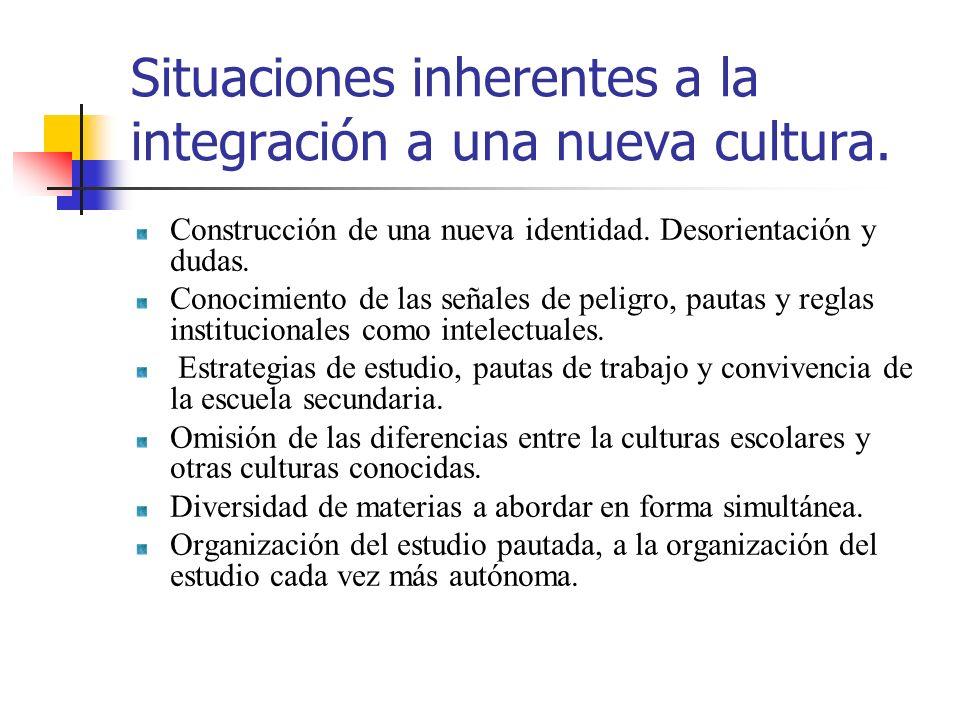 Situaciones inherentes a la integración a una nueva cultura. Construcción de una nueva identidad. Desorientación y dudas. Conocimiento de las señales