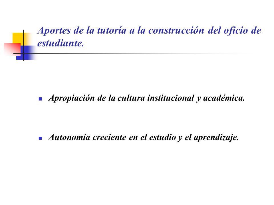 Aportes de la tutoría a la construcción del oficio de estudiante. Apropiación de la cultura institucional y académica. Autonomía creciente en el estud