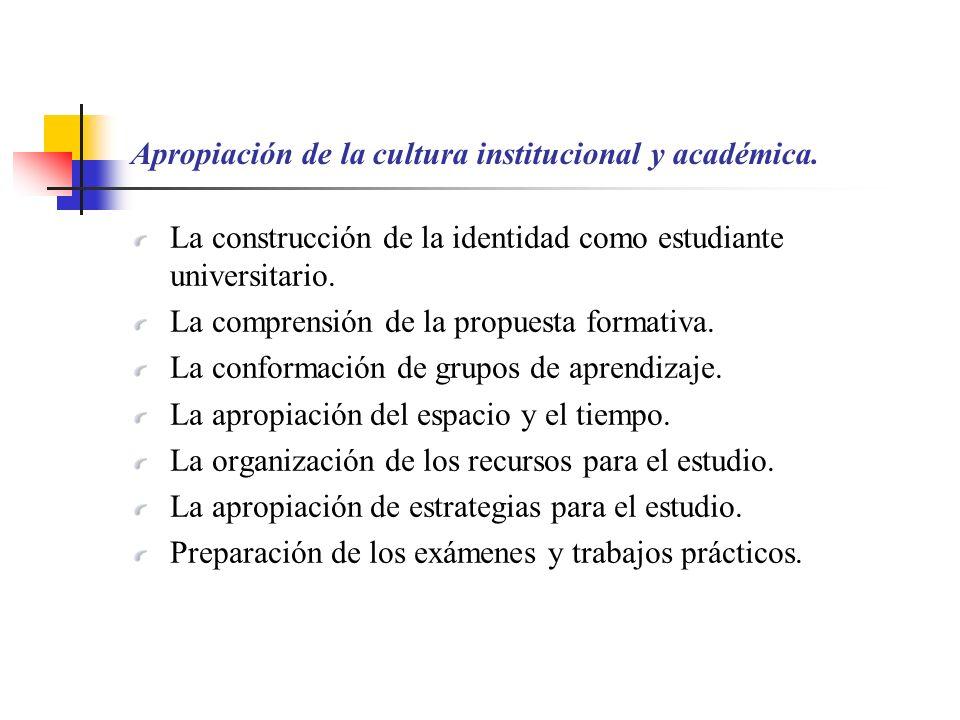 Apropiación de la cultura institucional y académica. La construcción de la identidad como estudiante universitario. La comprensión de la propuesta for