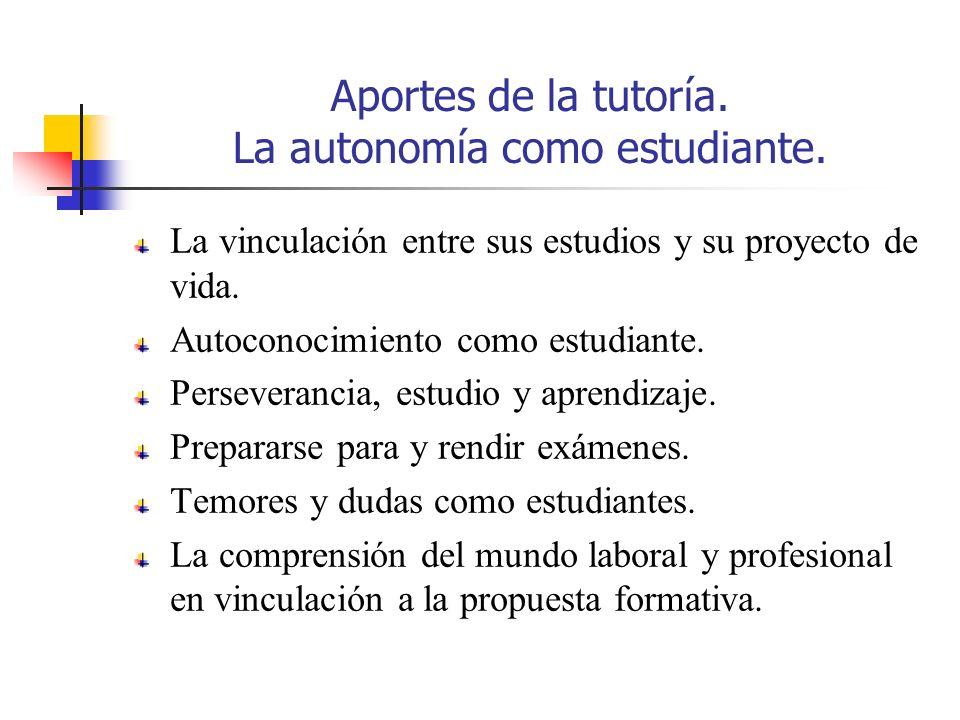 Aportes de la tutoría. La autonomía como estudiante. La vinculación entre sus estudios y su proyecto de vida. Autoconocimiento como estudiante. Persev