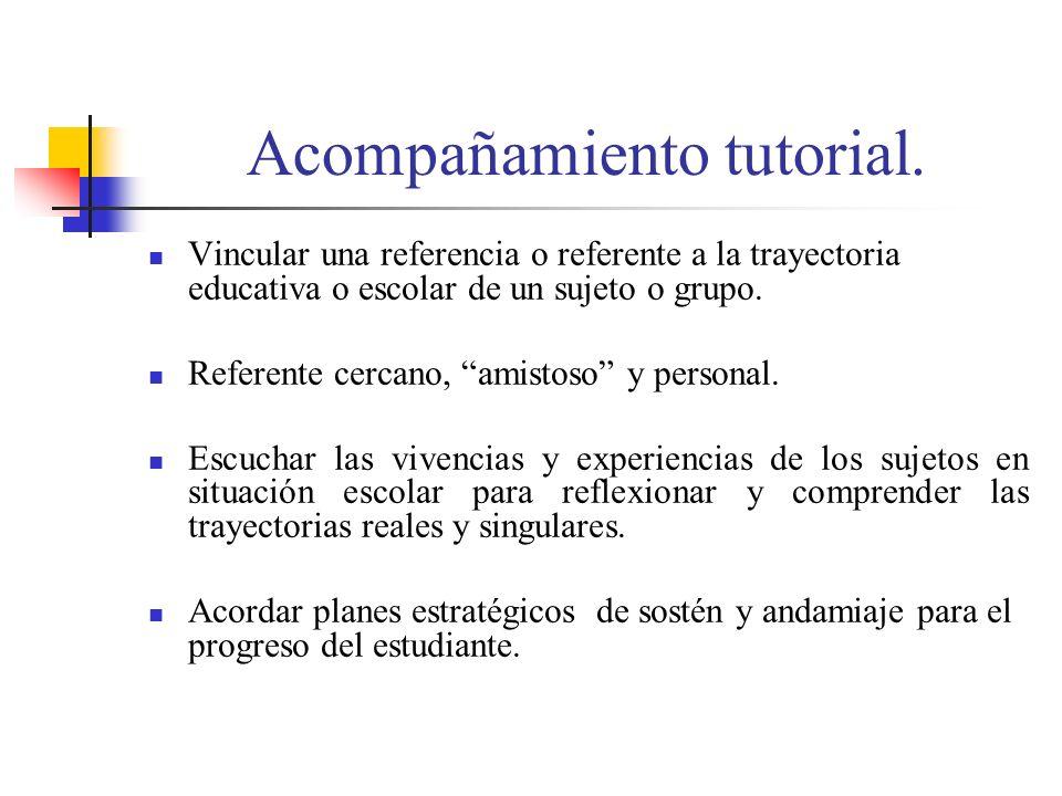 Acompañamiento tutorial. Vincular una referencia o referente a la trayectoria educativa o escolar de un sujeto o grupo. Referente cercano, amistoso y