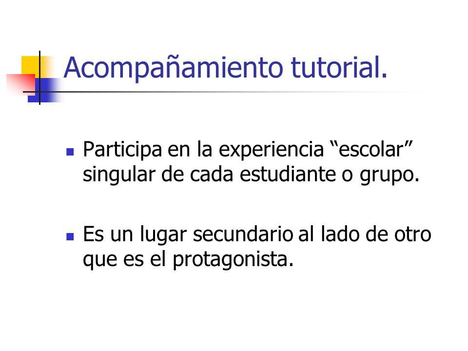 Acompañamiento tutorial. Participa en la experiencia escolar singular de cada estudiante o grupo. Es un lugar secundario al lado de otro que es el pro