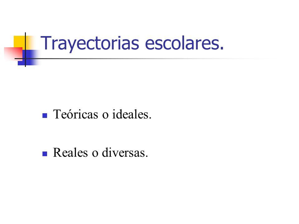 Trayectorias escolares. Teóricas o ideales. Reales o diversas.