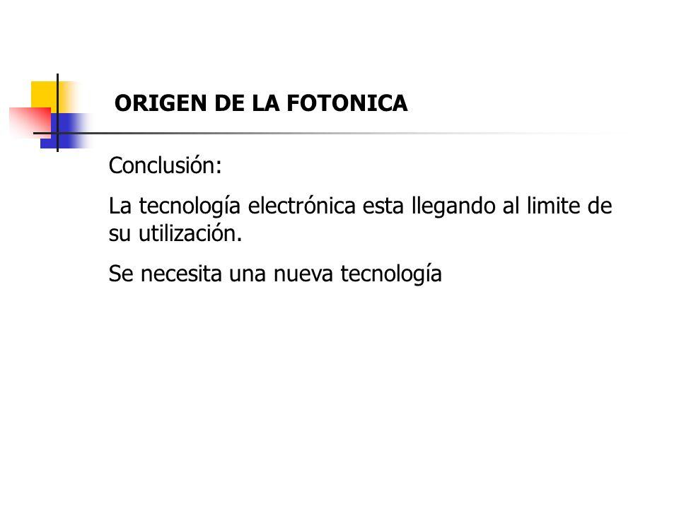 Conclusión: La tecnología electrónica esta llegando al limite de su utilización. Se necesita una nueva tecnología ORIGEN DE LA FOTONICA