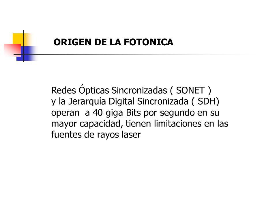 Redes Ópticas Sincronizadas ( SONET ) y la Jerarquía Digital Sincronizada ( SDH) operan a 40 giga Bits por segundo en su mayor capacidad, tienen limitaciones en las fuentes de rayos laser ORIGEN DE LA FOTONICA