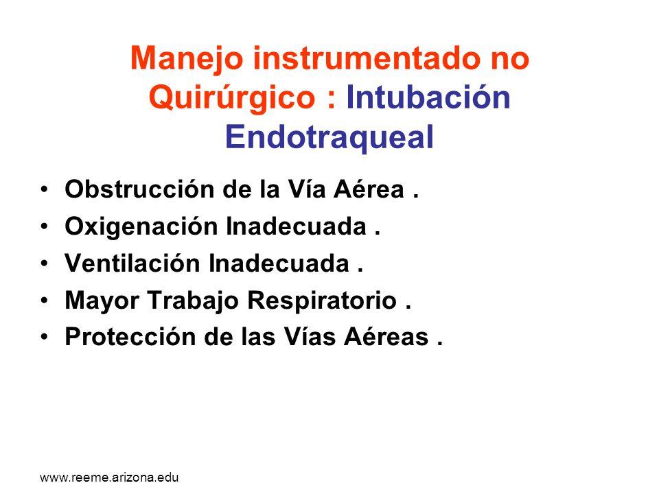 www.reeme.arizona.edu Manejo instrumentado no Quirúrgico : Intubación Endotraqueal Obstrucción de la Vía Aérea. Oxigenación Inadecuada. Ventilación In