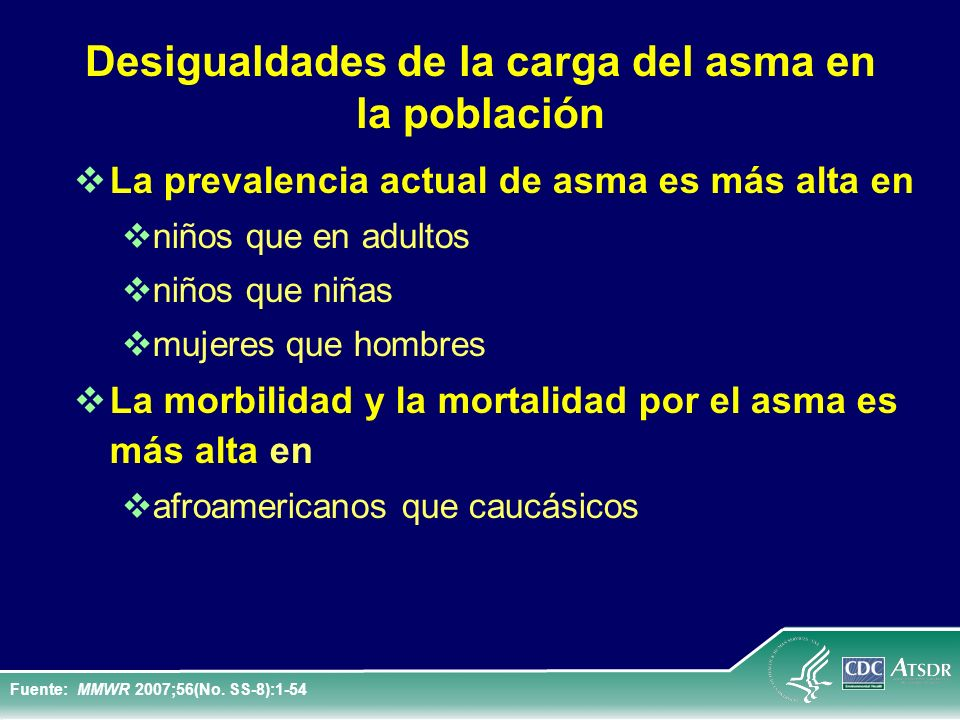 Índices de altas hospitalarias relacionadas con el asma* # por sexo en los Estados Unidos: 1980-2006 Fuente: National Hospital Discharge Survey, CDC National Center for Health Statistics, * First-listed diagnosis, # Age-adjusted to 2000 U.S.