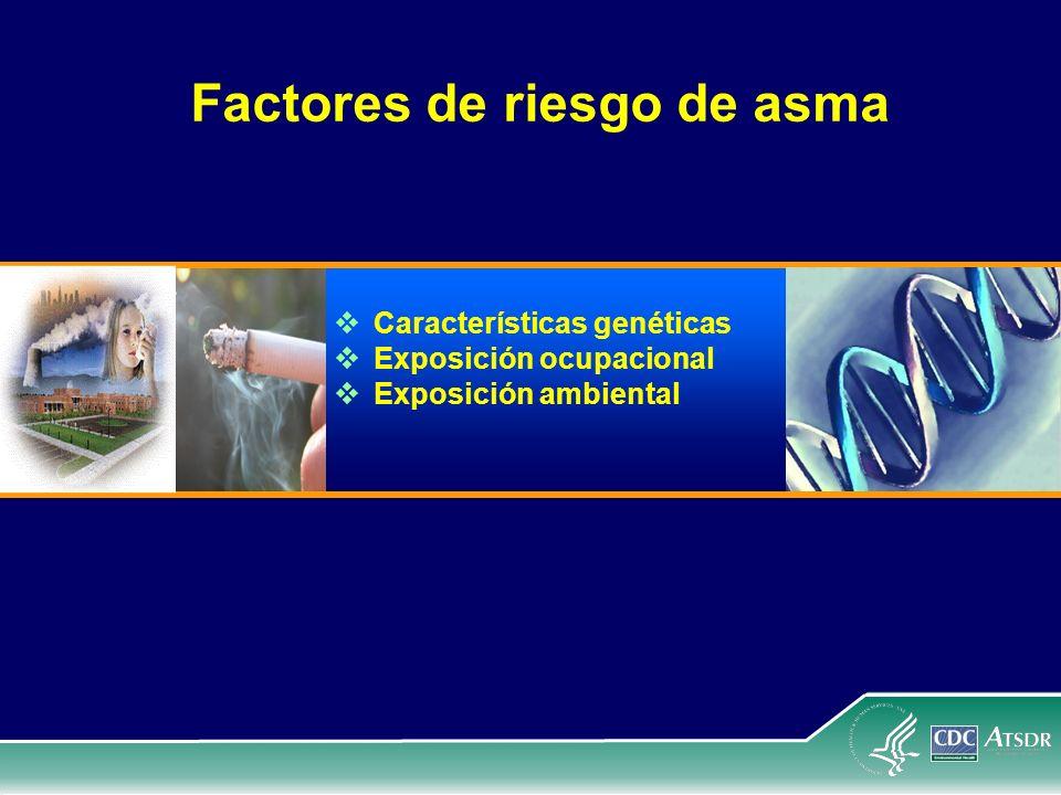 Factores de riesgo de asma Características genéticas Exposición ocupacional Exposición ambiental