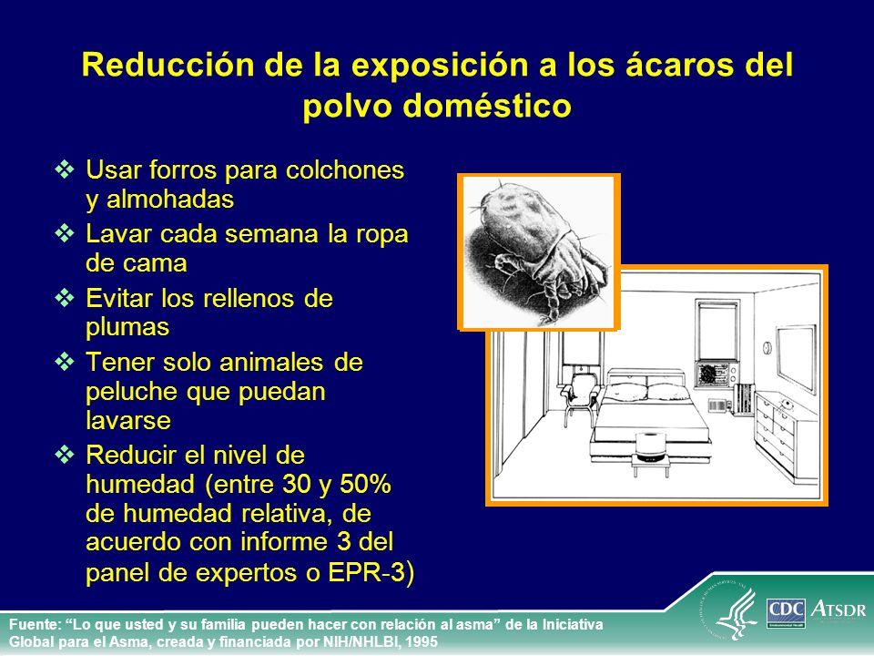 Reducción de la exposición a los ácaros del polvo doméstico Usar forros para colchones y almohadas Lavar cada semana la ropa de cama Evitar los rellen