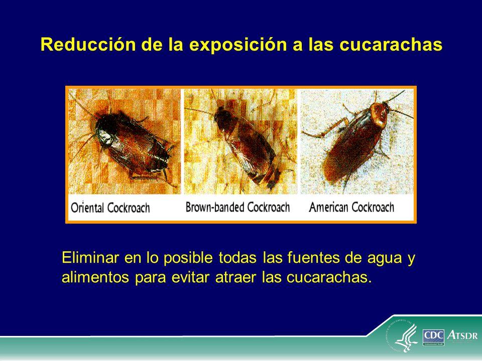 Reducción de la exposición a las cucarachas Eliminar en lo posible todas las fuentes de agua y alimentos para evitar atraer las cucarachas.