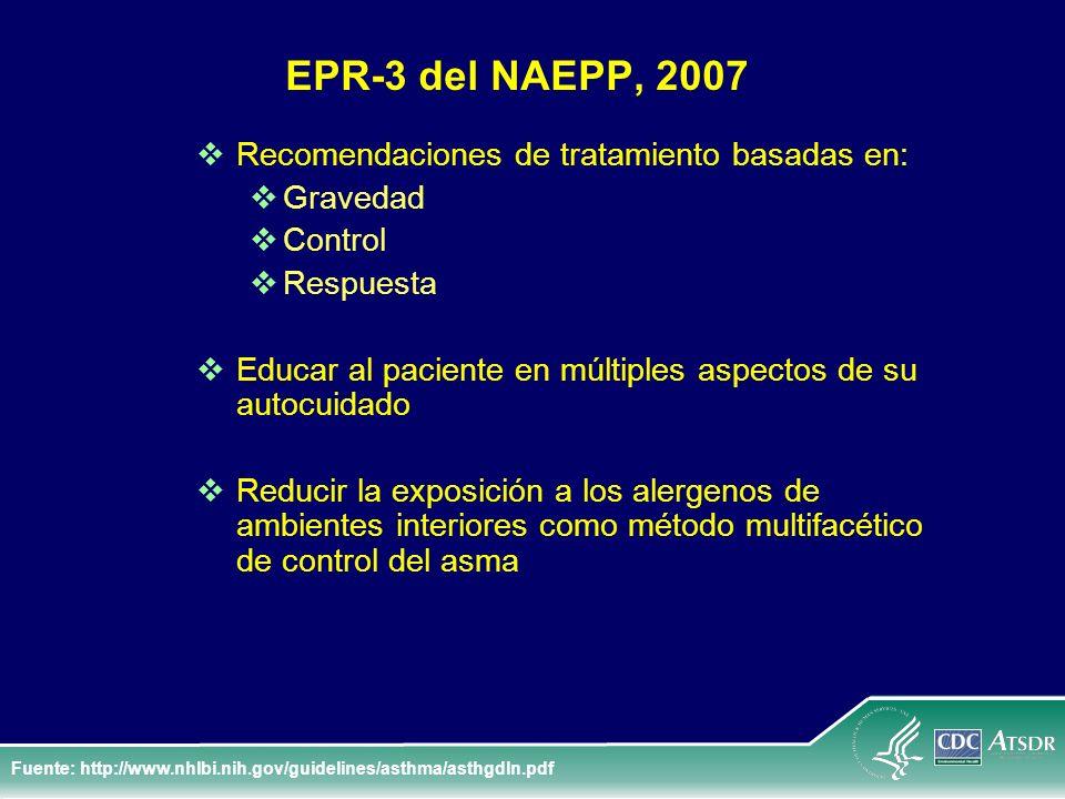 EPR-3 del NAEPP, 2007 Recomendaciones de tratamiento basadas en: Gravedad Control Respuesta Educar al paciente en múltiples aspectos de su autocuidado