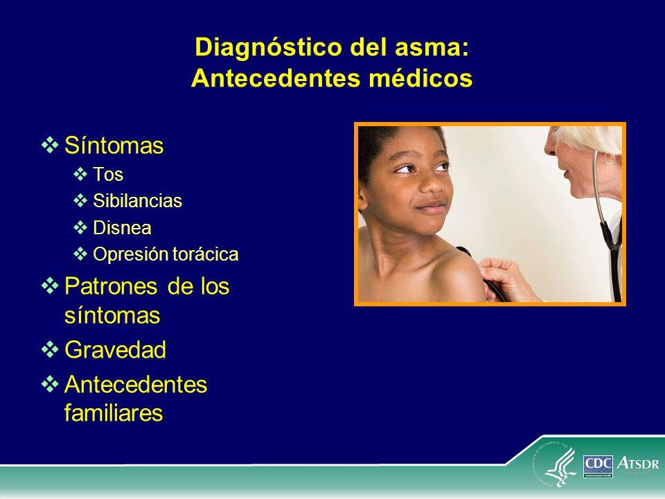 Diagnóstico del asma: Antecedentes médicos Síntomas Tos Sibilancias Disnea Opresión torácica Patrones de los síntomas Gravedad Antecedentes familiares