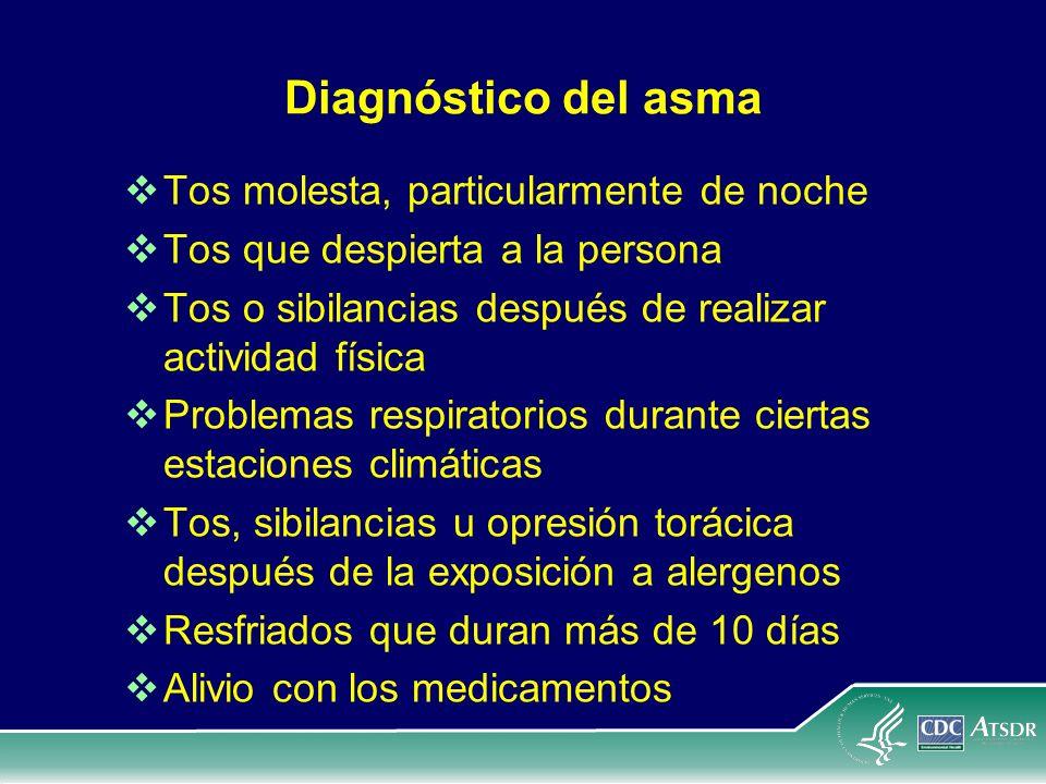 Diagnóstico del asma Tos molesta, particularmente de noche Tos que despierta a la persona Tos o sibilancias después de realizar actividad física Probl