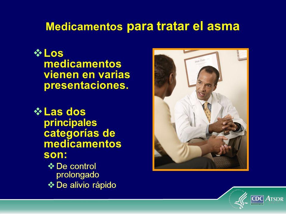 Medicamentos para tratar el asma Los medicamentos vienen en varias presentaciones. Las dos principales categorías de medicamentos son: De control prol
