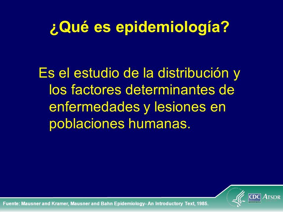 ¿Qué es epidemiología? Es el estudio de la distribución y los factores determinantes de enfermedades y lesiones en poblaciones humanas. Fuente: Mausne