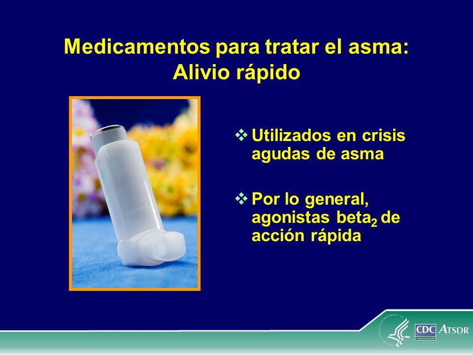 Medicamentos para tratar el asma: Alivio rápido Utilizados en crisis agudas de asma Por lo general, agonistas beta 2 de acción rápida