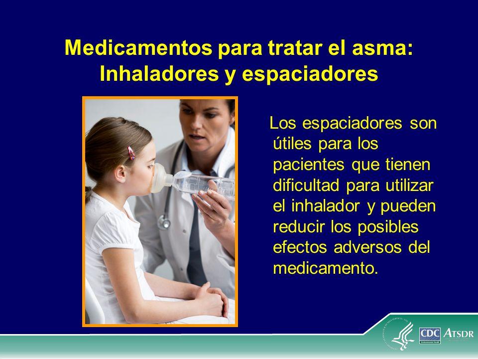 Medicamentos para tratar el asma: Inhaladores y espaciadores Los espaciadores son útiles para los pacientes que tienen dificultad para utilizar el inh