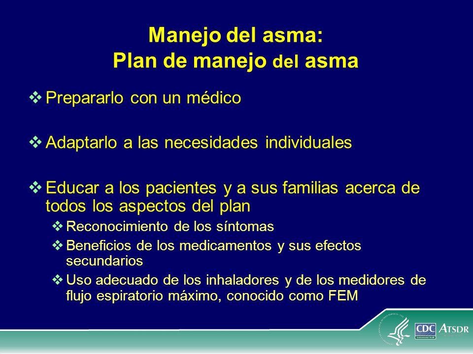 Manejo del asma: Plan de manejo del asma Prepararlo con un médico Adaptarlo a las necesidades individuales Educar a los pacientes y a sus familias ace