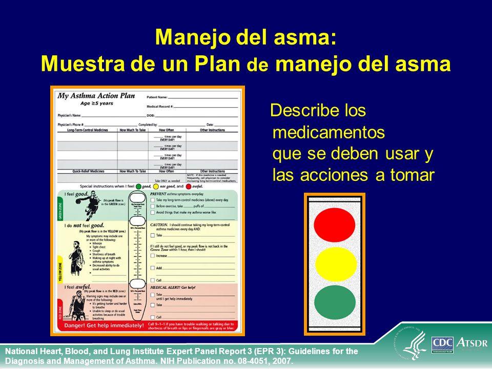 Manejo del asma: Muestra de un Plan de manejo del asma Describe los medicamentos que se deben usar y las acciones a tomar National Heart, Blood, and L