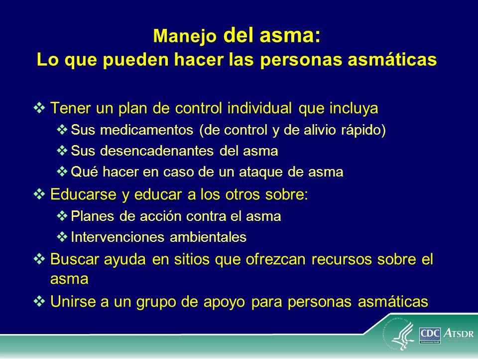 Manejo del asma: Lo que pueden hacer las personas asmáticas Tener un plan de control individual que incluya Sus medicamentos (de control y de alivio r