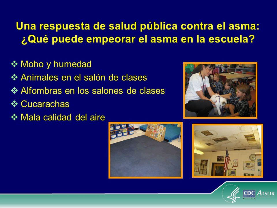 Una respuesta de salud pública contra el asma: ¿Qué puede empeorar el asma en la escuela? Moho y humedad Animales en el salón de clases Alfombras en l