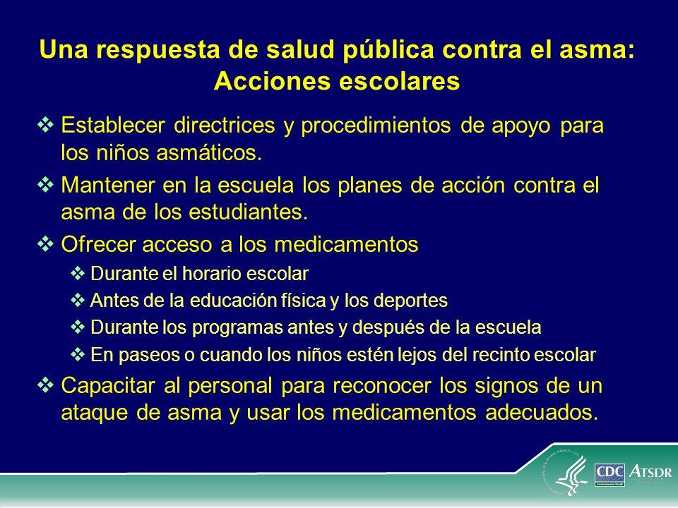 Una respuesta de salud pública contra el asma: Acciones escolares Establecer directrices y procedimientos de apoyo para los niños asmáticos. Mantener