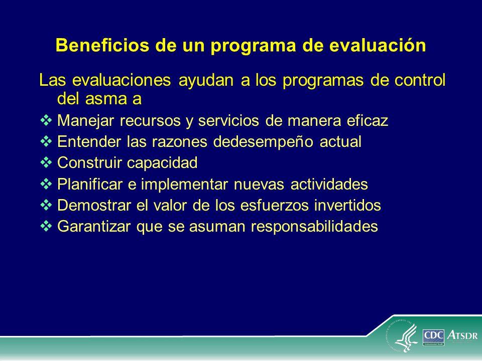 Beneficios de un programa de evaluación Las evaluaciones ayudan a los programas de control del asma a Manejar recursos y servicios de manera eficaz En