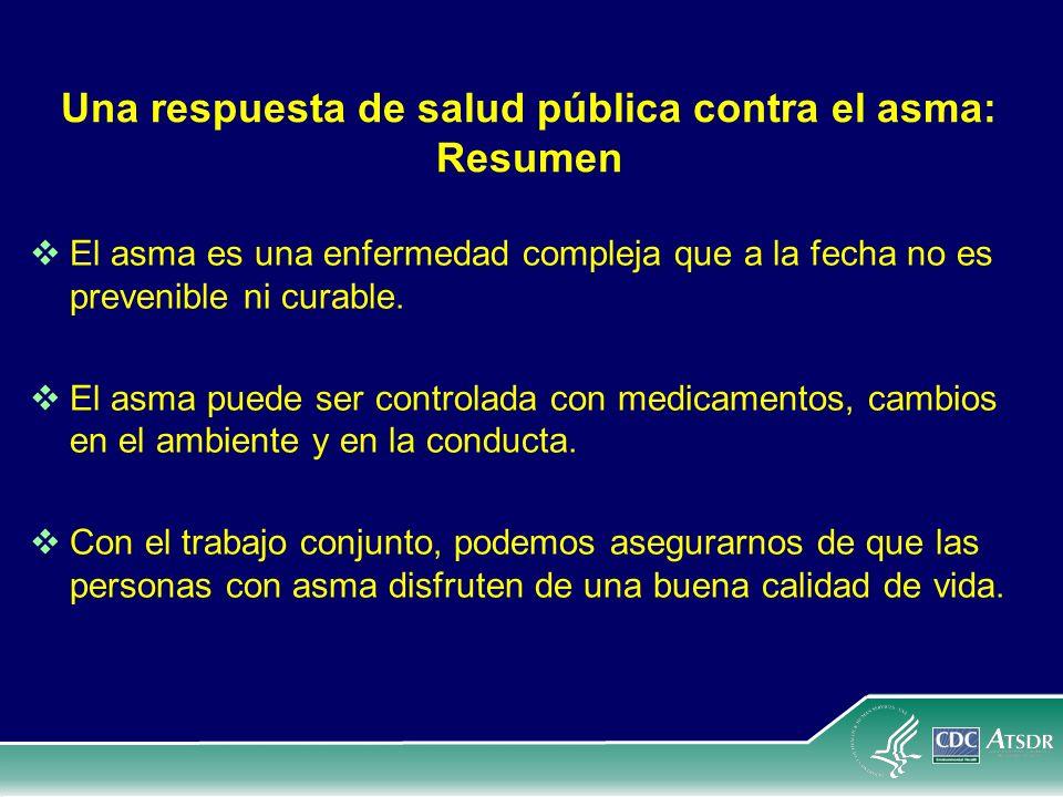 Una respuesta de salud pública contra el asma: Resumen El asma es una enfermedad compleja que a la fecha no es prevenible ni curable. El asma puede se