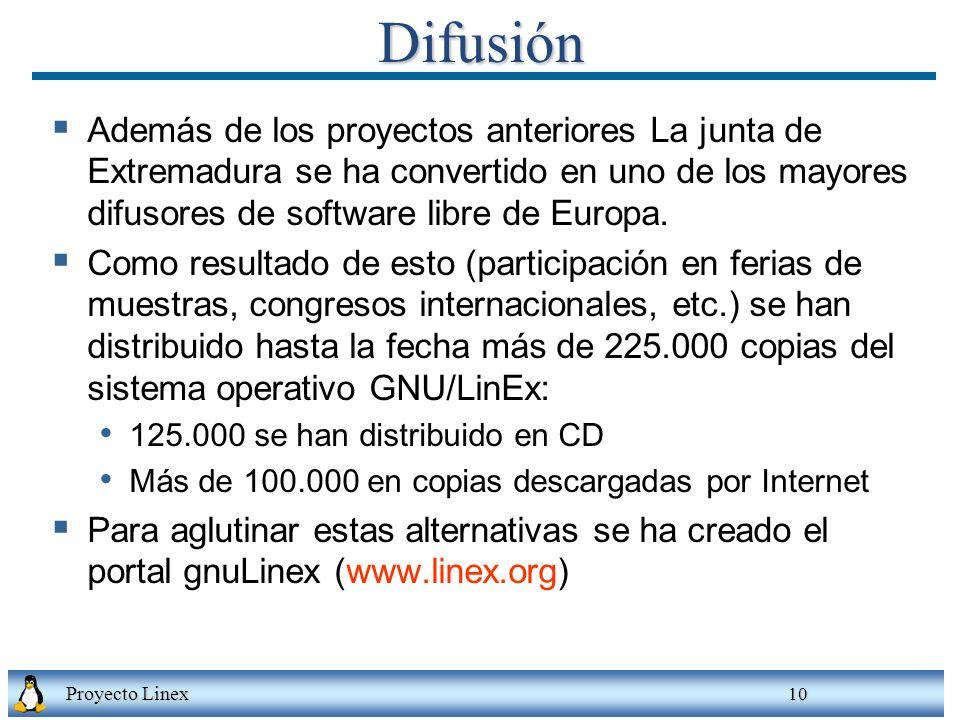 Proyecto Linex 10Difusión Además de los proyectos anteriores La junta de Extremadura se ha convertido en uno de los mayores difusores de software libre de Europa.