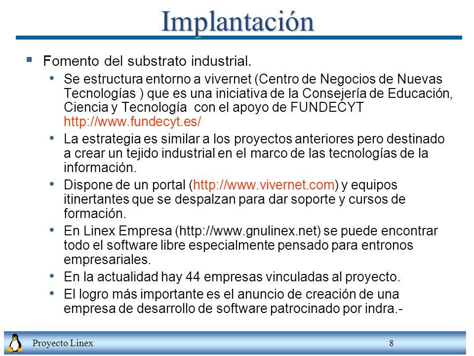 Proyecto Linex 8Implantación Fomento del substrato industrial. Se estructura entorno a vivernet (Centro de Negocios de Nuevas Tecnologías ) que es una