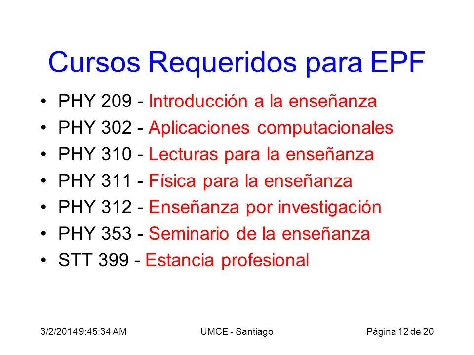 3/2/2014 9:47:28 AMUMCE - Santiago Cursos Requeridos para EPF PHY 209 - Introducción a la enseñanza PHY 302 - Aplicaciones computacionales PHY 310 - Lecturas para la enseñanza PHY 311 - Física para la enseñanza PHY 312 - Enseñanza por investigación PHY 353 - Seminario de la enseñanza STT 399 - Estancia profesional Página 12 de 20