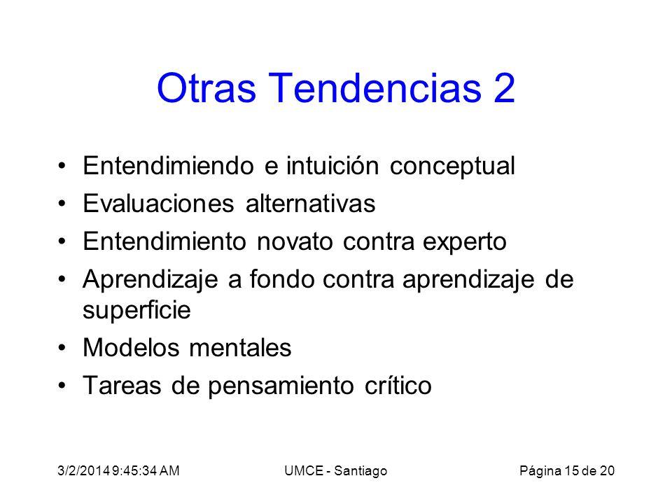 3/2/2014 9:47:28 AMUMCE - Santiago Otras Tendencias 2 Entendimiendo e intuición conceptual Evaluaciones alternativas Entendimiento novato contra experto Aprendizaje a fondo contra aprendizaje de superficie Modelos mentales Tareas de pensamiento crítico Página 15 de 20