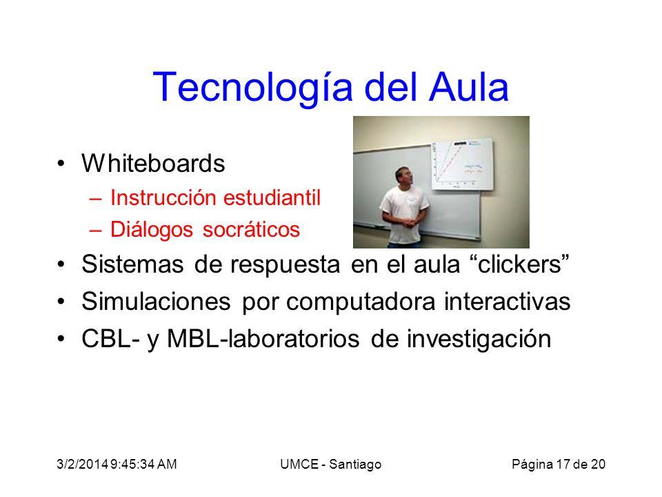 3/2/2014 9:47:28 AMUMCE - Santiago Tecnología del Aula Whiteboards –Instrucción estudiantil –Diálogos socráticos Sistemas de respuesta en el aula clic