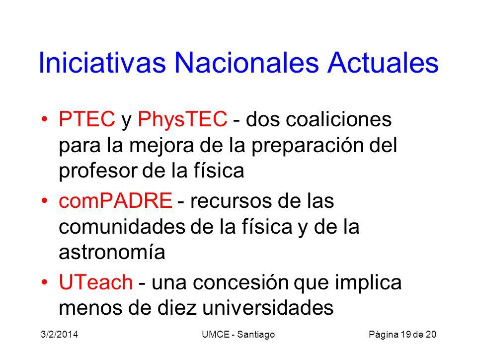 Iniciativas Nacionales Actuales PTEC y PhysTEC - dos coaliciones para la mejora de la preparación del profesor de la física comPADRE - recursos de las