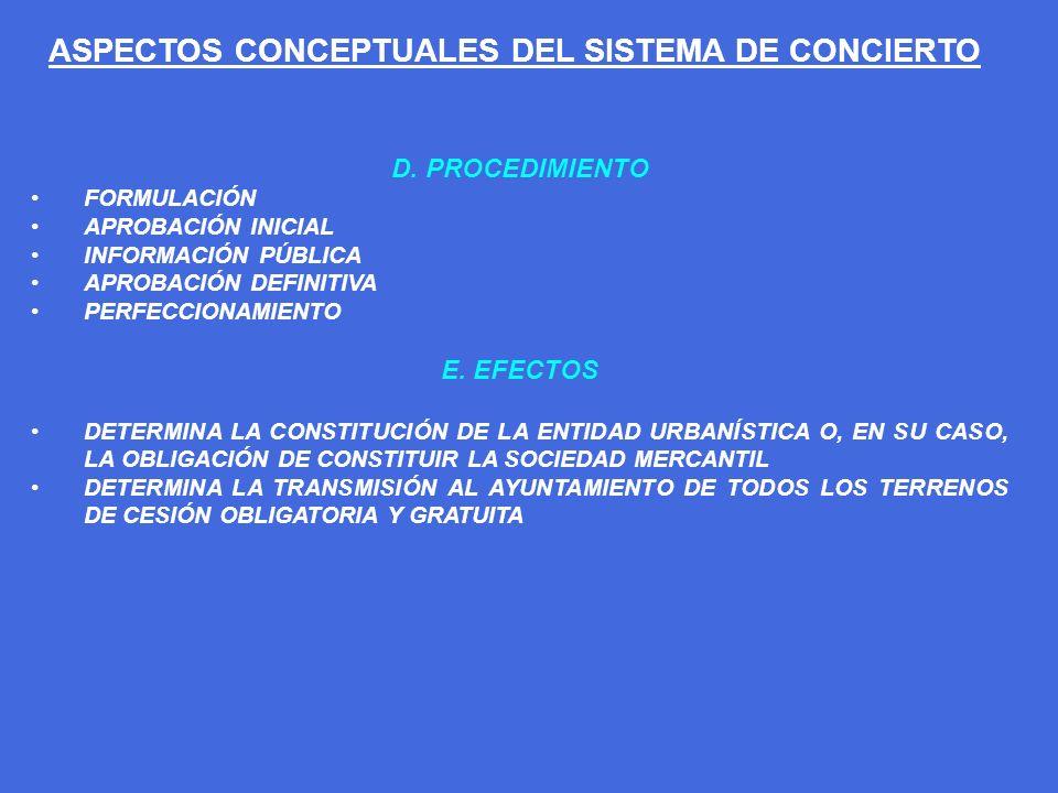 ASPECTOS CONCEPTUALES DEL SISTEMA DE CONCIERTO D. PROCEDIMIENTO FORMULACIÓN APROBACIÓN INICIAL INFORMACIÓN PÚBLICA APROBACIÓN DEFINITIVA PERFECCIONAMI