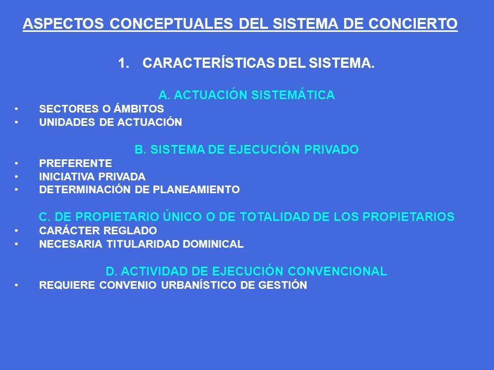 1.CARACTERÍSTICAS DEL SISTEMA. A. ACTUACIÓN SISTEMÁTICA SECTORES O ÁMBITOS UNIDADES DE ACTUACIÓN B. SISTEMA DE EJECUCIÓN PRIVADO PREFERENTE INICIATIVA