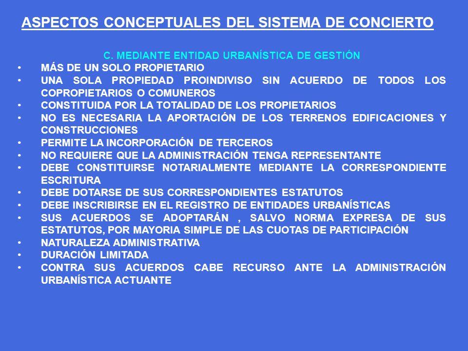 ASPECTOS CONCEPTUALES DEL SISTEMA DE CONCIERTO C. MEDIANTE ENTIDAD URBANÍSTICA DE GESTIÓN MÁS DE UN SOLO PROPIETARIO UNA SOLA PROPIEDAD PROINDIVISO SI