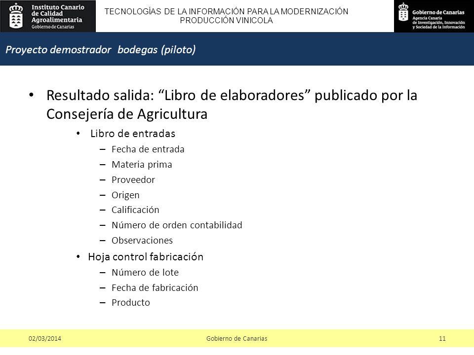 TECNOLOGÍAS DE LA INFORMACIÓN PARA LA MODERNIZACIÓN PRODUCCIÓN VINICOLA Resultado salida: Libro de elaboradores publicado por la Consejería de Agricultura Libro de entradas – Fecha de entrada – Materia prima – Proveedor – Origen – Calificación – Número de orden contabilidad – Observaciones Hoja control fabricación – Número de lote – Fecha de fabricación – Producto Gobierno de Canarias1102/03/2014 Proyecto demostrador bodegas (piloto)