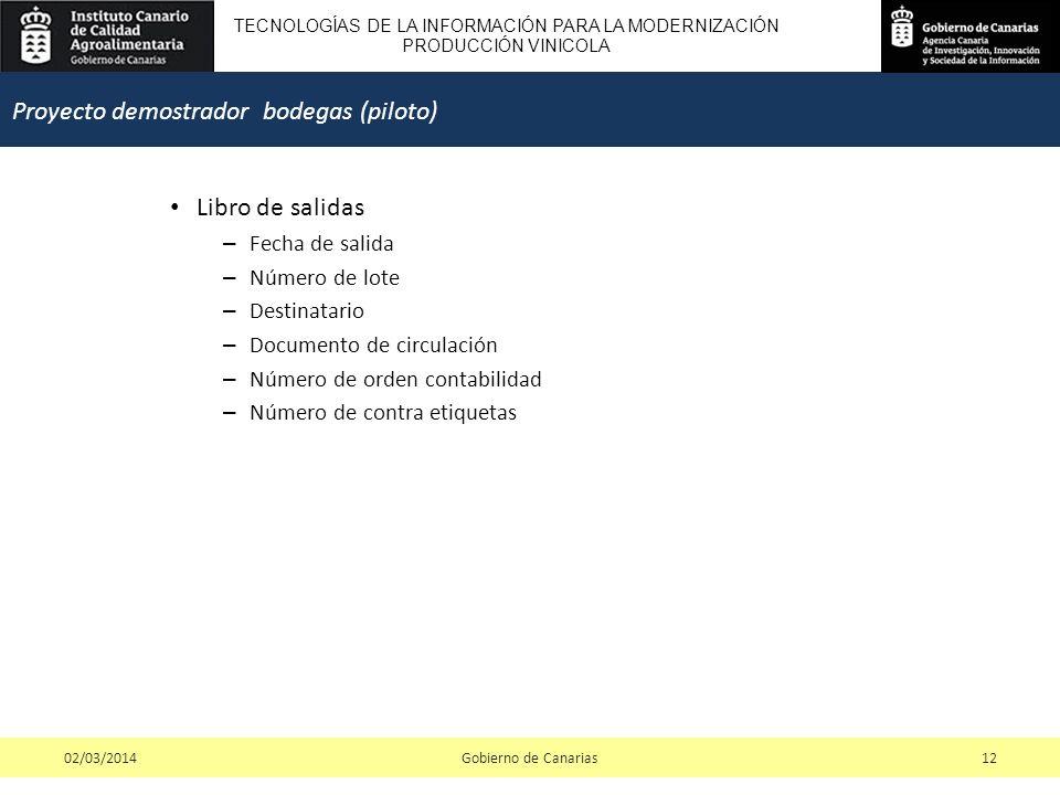 TECNOLOGÍAS DE LA INFORMACIÓN PARA LA MODERNIZACIÓN PRODUCCIÓN VINICOLA Libro de salidas – Fecha de salida – Número de lote – Destinatario – Documento de circulación – Número de orden contabilidad – Número de contra etiquetas Gobierno de Canarias1202/03/2014 Proyecto demostrador bodegas (piloto)