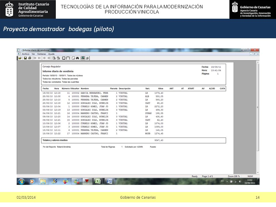 TECNOLOGÍAS DE LA INFORMACIÓN PARA LA MODERNIZACIÓN PRODUCCIÓN VINICOLA Gobierno de Canarias1402/03/2014 Proyecto demostrador bodegas (piloto)