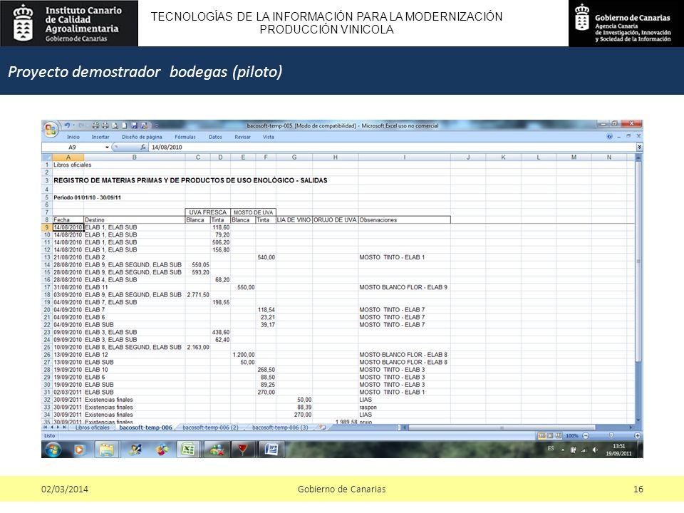 TECNOLOGÍAS DE LA INFORMACIÓN PARA LA MODERNIZACIÓN PRODUCCIÓN VINICOLA Gobierno de Canarias1602/03/2014 Proyecto demostrador bodegas (piloto)