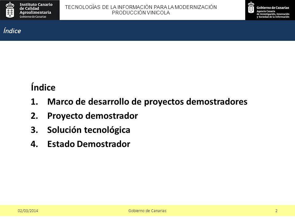 TECNOLOGÍAS DE LA INFORMACIÓN PARA LA MODERNIZACIÓN PRODUCCIÓN VINICOLA Índice 1.Marco de desarrollo de proyectos demostradores 2.Proyecto demostrador 3.Solución tecnológica 4.Estado Demostrador Gobierno de Canarias202/03/2014 Índice