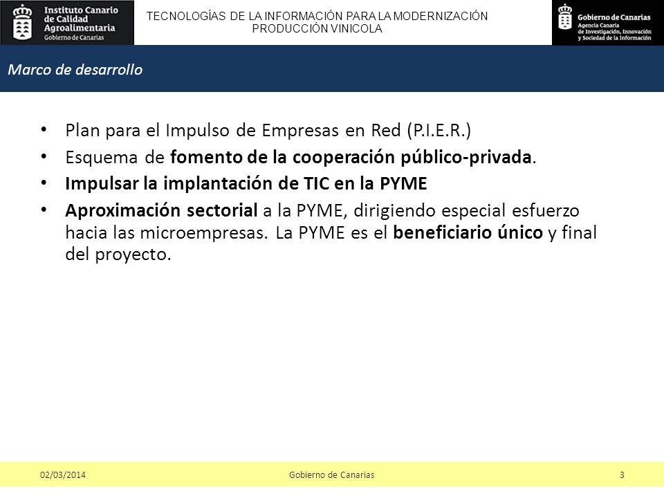 TECNOLOGÍAS DE LA INFORMACIÓN PARA LA MODERNIZACIÓN PRODUCCIÓN VINICOLA Plan para el Impulso de Empresas en Red (P.I.E.R.) Esquema de fomento de la cooperación público-privada.