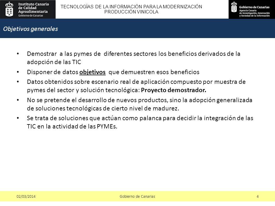 TECNOLOGÍAS DE LA INFORMACIÓN PARA LA MODERNIZACIÓN PRODUCCIÓN VINICOLA Demostrar a las pymes de diferentes sectores los beneficios derivados de la ad